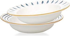 MDZF SWEET HOME Rim Soup Bowls Porcelain Plates Set Salad Dessert Pasta Bowls 20 Oz, Set of 2