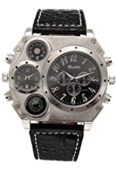 Oulm Analog White Metal Bezel Four Black Sub-dials Men Watch