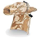 british military hat - Original British Army boonie hat Sun Bush cap Tropical desert camo combat neck guard (Medium)
