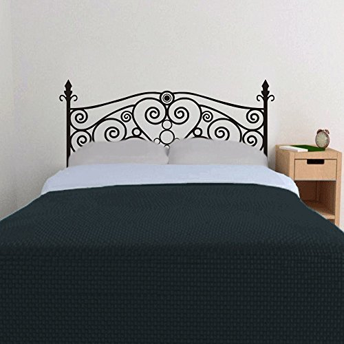 Larmai Wall Decal Vinyl Wrought Iron Headboard Heart Bedroom Scroll Headboard Headboard (Full) Wall Art Sayings Sticker for Kids Room