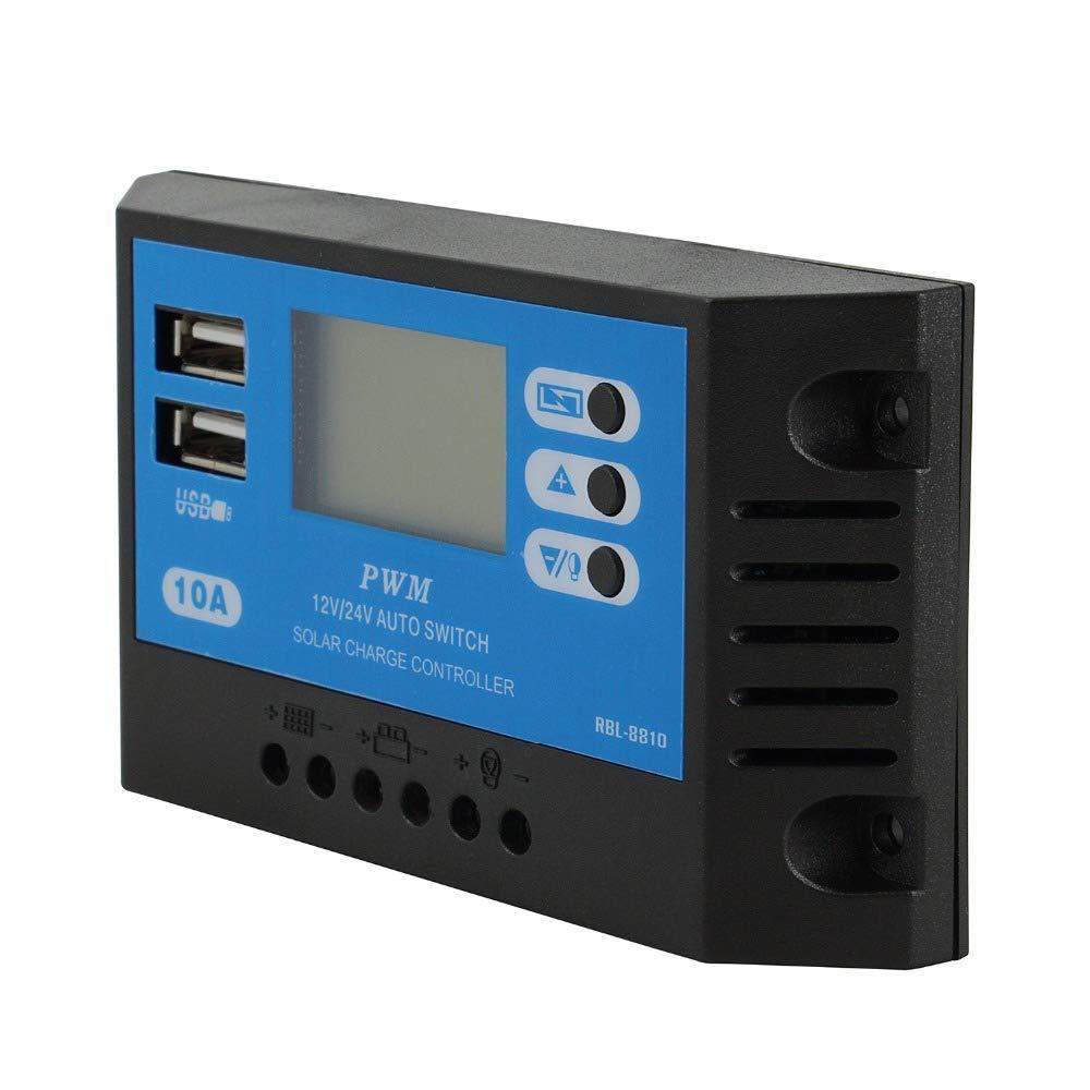 Dual USB 10A 12V 24V pannello solare display LCD PWM regolatore di carica solare caricatore