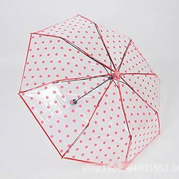 Para mujer diseño de lunares plegable paraguas cúpula de PVC transparente lluvia paraguas sombrilla, rojo