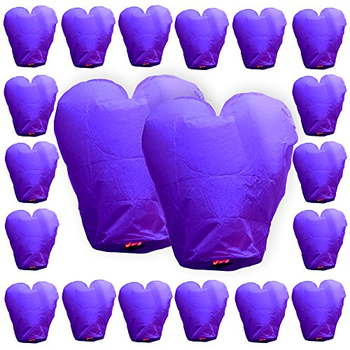 Just Artifacts ECO Wire-Free Flying Chinese Sky Lanterns (Set of 20, Heart, Purple) - 100% Biodegradable, Environmentally Friendly Lanterns! ()