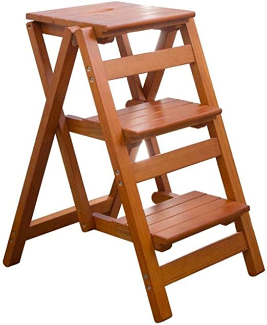 XITER Taburete Plegable de Escalera de Madera, Sillas de Escalera con Escalera de 3 escalones, Plataforma Plegable de Escalera con Taburete (Color : Walnut Color): Amazon.es: Hogar