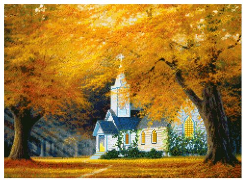 MCG Textiles 52411 Gold Collection Counted Cross Stitch Kit, The Church in The Glen by Charles White