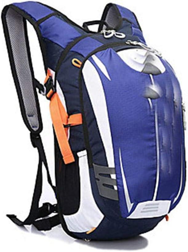 通気性 アウトドアハイキングバイクバックパックダブルショルダー/ 18 Lバックパックバイクバックパック防水防雨反射ストリップナイロン素材耐久性 (色 : 青) 青