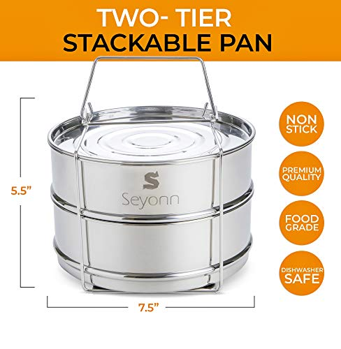 Seyonn Stackable Steamer Insert Pans and Lid for Instant Pot 5,6,8 qt Pressure Cooker, Crock Pot Accessories - 2 Stainless Steel Inserts Pan with Handle for Steaming, Baking - Premium, Food Grade by Seyonn (Image #4)