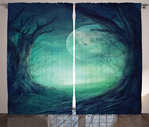 Ambesonne Gothic Decor Curtains 2 Panel Set, Misty Horror Illustration of Autumn Valley with Woods Spooky Tree And Full Moon Scene, Living Room Bedroom Decor, 108 W X 84 L Inches, Navy Green