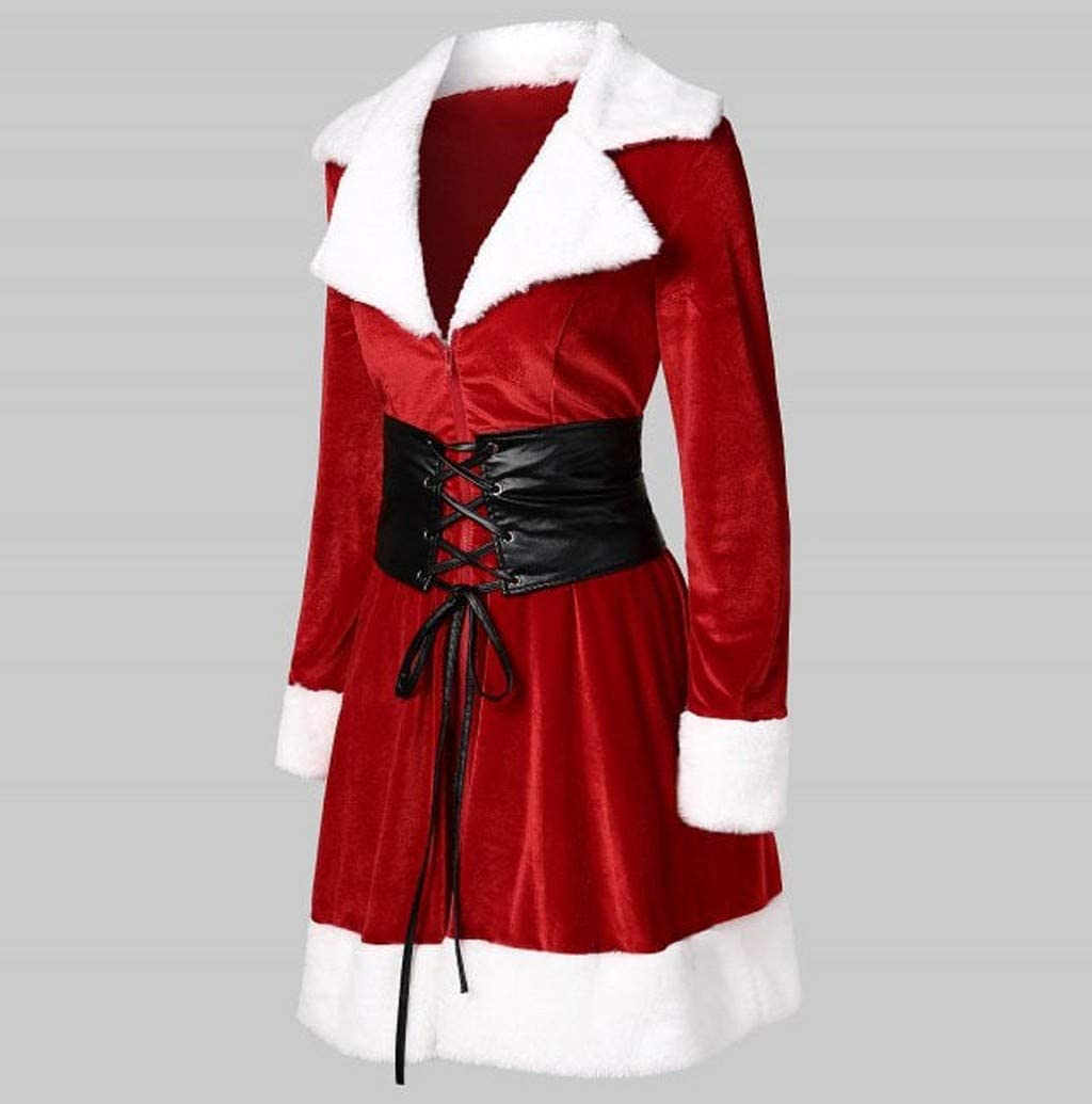 Nevera 2020 New Merry Christmas Dress Coat Faux Fur Velvet Santa Lace Up Coat Outwear Cosplay Costumes