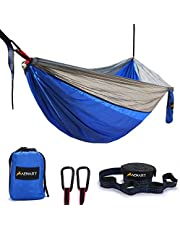 Double Camping Hammock, Lightweight Nylon Portable Parachute Double Camping Hammock for Backpacking, Camping, Travel, Beach, Yard - 2 Colors Included 2 Carabiners and Tree Straps(Blue,78''W x 118''L)