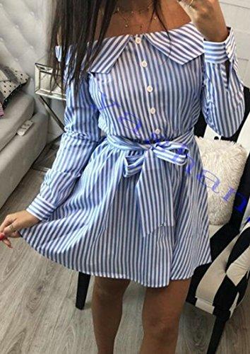Donne Linea Spalla Delle Vestito Maniche In Sottile A Sexy Strisce Forma C amp; Fuori H Lunghe Camicia Una Blu qCxA6