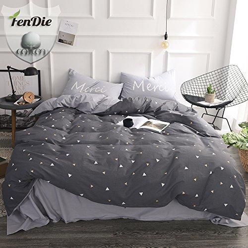FenDie Lightweight Gray Duvet Cover Set with Little White an