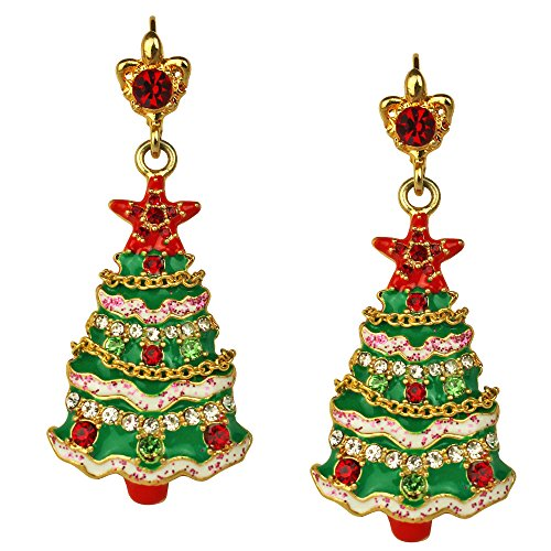 Ritzy Couture Christmas Tree Drop Leverback Earrings (Goldtone)