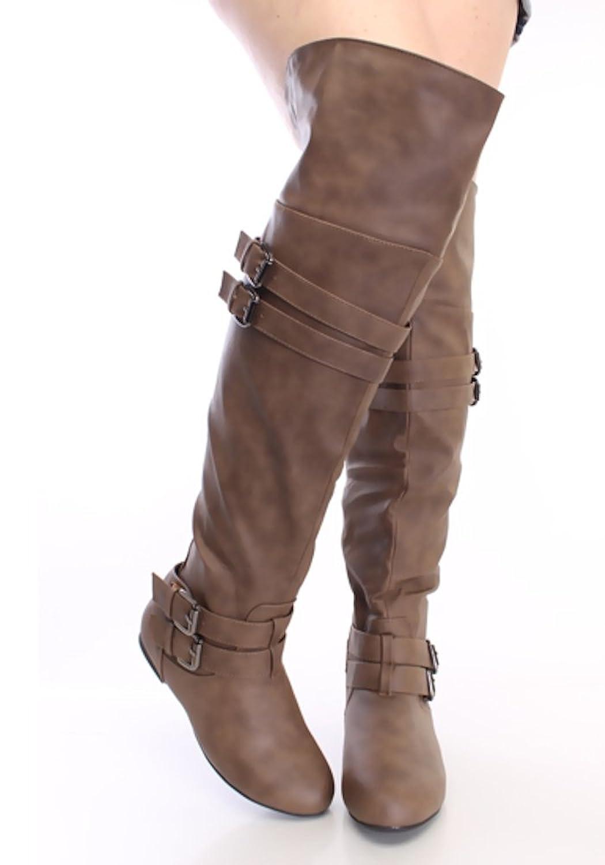Women's Buckle Cognac Faux Leather Boots
