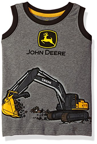 John Deere Baby Girls' Toddler Boys' Tee, Medium Heather Grey/Black, 3T