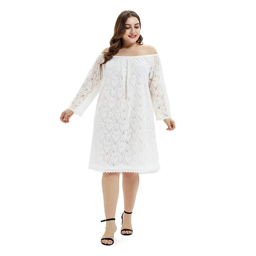 Women's Cocktail Dress, Vintage Style, Floral lace, Long Sleeved Strapless, Large Size Short Dress,White,L