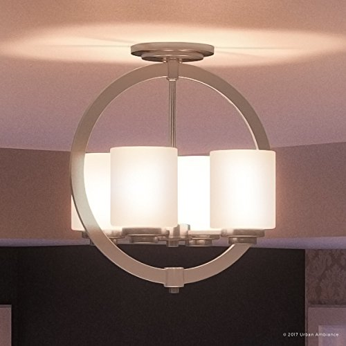Luxury Contemporary Semi-Flush Ceiling Light, Medium Size: 15''H x 14''W, with Traditional Style Elements, Globe Design, Pretty Brushed Nickel Finish and Opal Etched Glass, UQL2171 by Urban Ambiance by Urban Ambiance (Image #7)