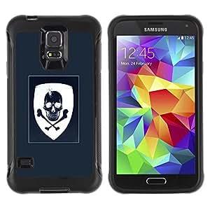 Suave TPU GEL Carcasa Funda Silicona Blando Estuche Caso de protección (para) Samsung Galaxy S5 V / CECELL Phone case / / Coat Of Arms Blue White Skull Pirate /