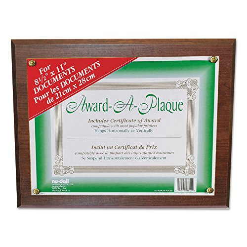Wall Mountable Horizontal Vertical Acrylic - Nu-Dell Award-A-Plaque - 13quot; x 10.50quot; Frame - 11quot; x 8.50quot; Insert - Wall Mountable - Horizontal, Vertical - Acrylic - Walnut