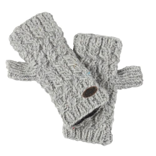 Turtle Fur Women's Nepal Mika Fingerless Mittens, Hand Knit Wool, Smoke Heather