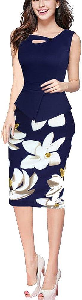 ZhuiKun Damen Vintage-Ausschnitt Kontrast Blumen Abendkleid