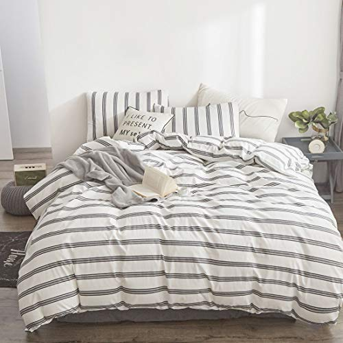 ATsense Queen Duvet Cover Cotton, Ultra Soft White Striped Duvet Cover Set, White Duvet Cover with Grey Stripes, Cosy and Breathable with Zipper Closure & Corner Ties (Duvet Cover Queen White Stripe)
