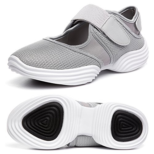 SILISITE Women's Walking Shoes Elastic Adjustable Lightweight Breathable Athletic Outdoor Shoes Size 6.5 B(M) US Light Grey
