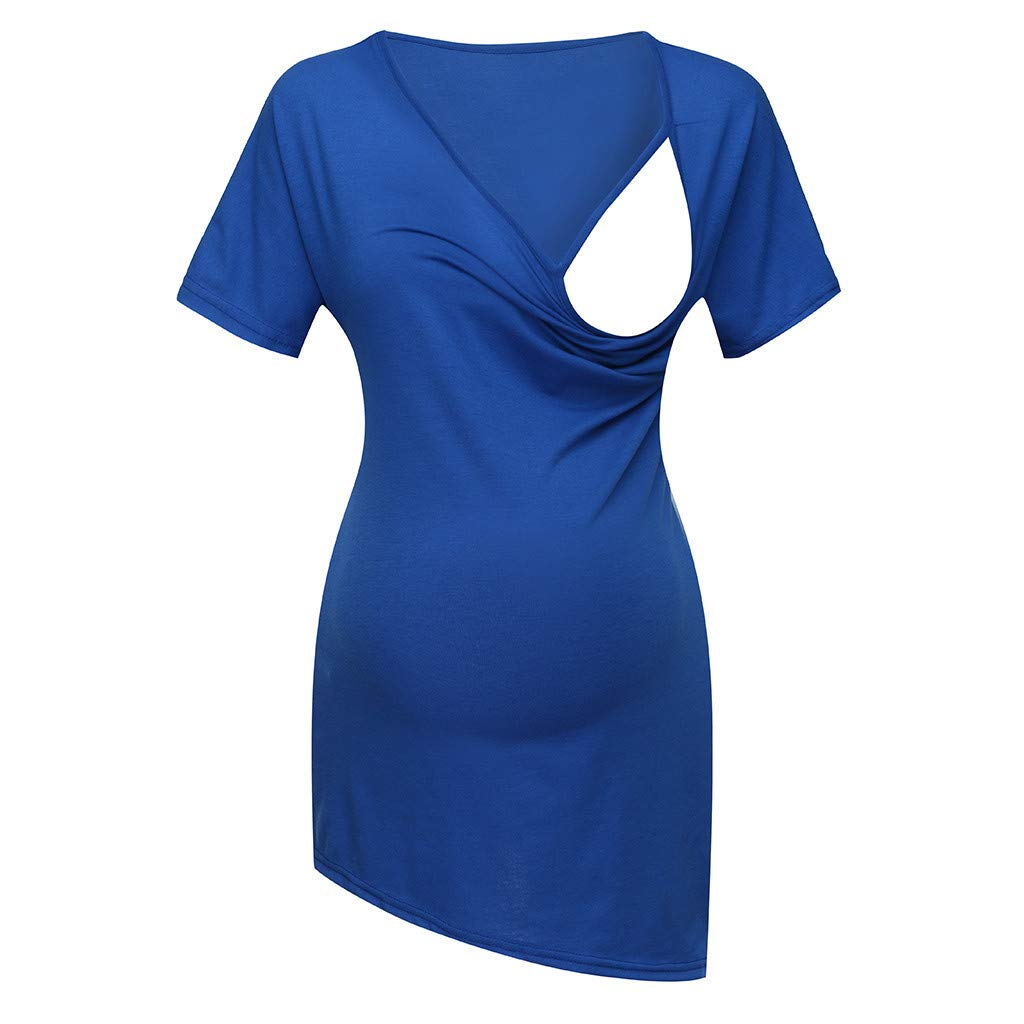 Pregnant Blouses for Women,Women's Short Sleeve Pure Colour Tops Breastfeeding Nusring Maternity Clothes,Women's Fashion,Dark Blue,M