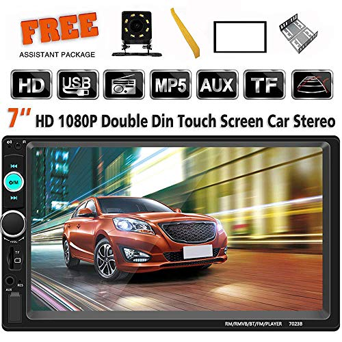 (Double Din Car Stereo 7 Inch Touch Screen Headunit MP5 Player USB TF FM Radio Car Audio Receiver Bluetooth Support Backup Rear View Camera Mirror Link and Car Tuning Tools)