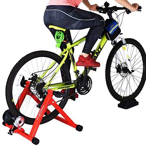 - HEALTH LINE PRODUCT Indoor Cycle Trainer,Noise Reduction Super Quiet Bicycle Exercise Stand w Quick Release 8 Levels Resistance w Front Wheel Block