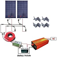 ECO-WORTHY 200 Watts Solar Panel Complete Kit : 2pcs 100W Poly Solar Panel + 1KW Pure Sine Wave Inverter + 100AH Sealed Rechargeble Battery + Solar Cable + 15A Controller