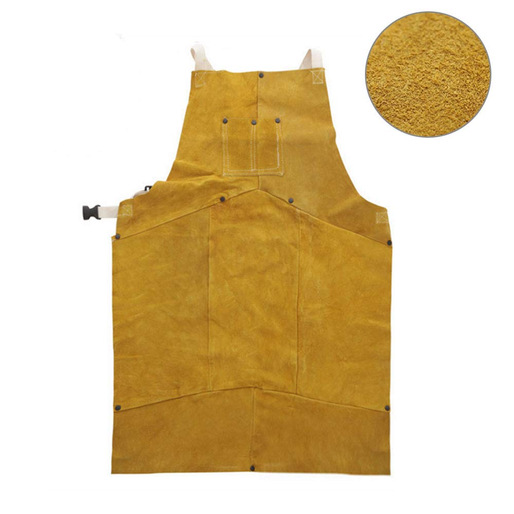 Phoenixfly99 Leather Welding Bib Apron Cowhide Split Leather Safety Apparel Flame Resistant Apron With Pocket Yellow (28-Inch By 39-Inch) by Phoenixfly99 (Image #2)