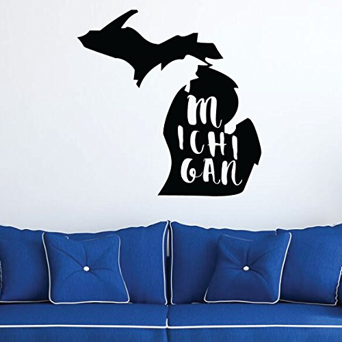 Michigan Wall Decal - State Silhouette Vinyl Art for Home Decor, Living Room or Family Room -