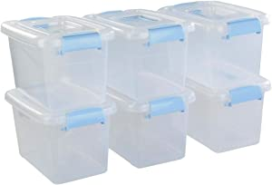 Ponpong 7.5 Quart Plastic Storage Boxes Bins Containers with Lids and Handles, 6 Packs