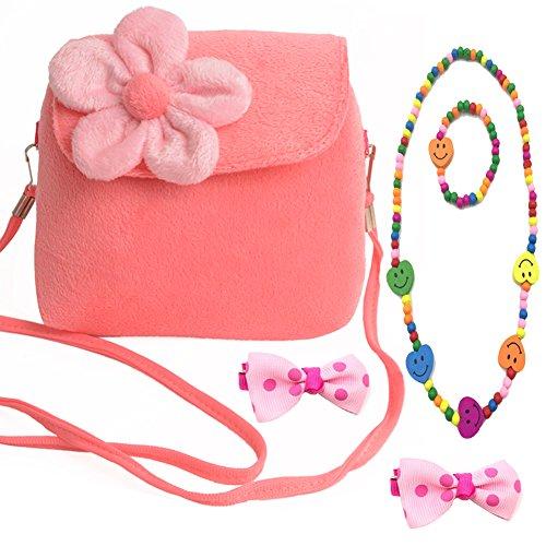 Aligle Little Girl Beauty Set Plush Flower Handbag + 2 Hair Clip + Necklace and Bracelet (Pink)