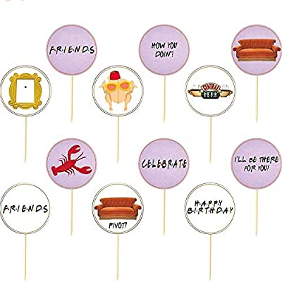 Friends TV Themed Birthday Party Decorations for Children or Adults Finduat 24 Pcs Friends TV Show Cupcake Toppers Party Decorations Supplies