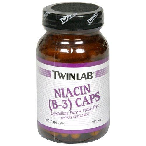 Twinlab niacine (B-3) 500 mg, 100 Capsules (Pack de 4)