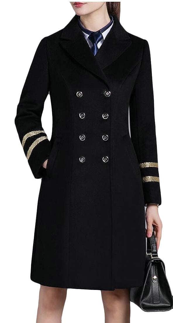Black jxfd Women's Double Breasted Pea Coat Winter Woolen Blend Jacket