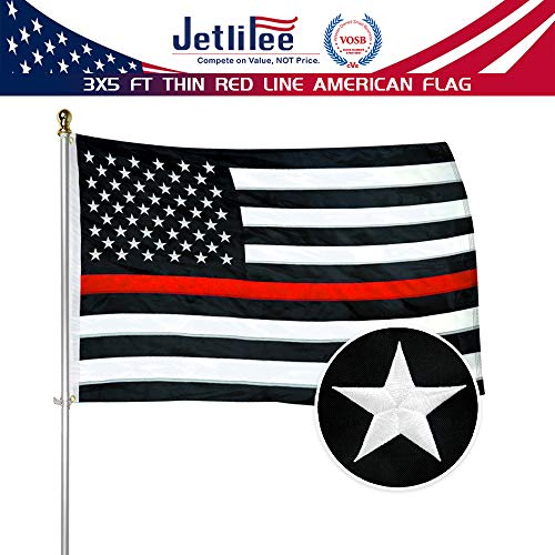Black White Thin Red Line American Flag 3x5 Ft by US Veterans Owned Biz. Heavy Use Nylon Embroidered Stars Sewn Stripes Fast Dry, All Weather USA Flag-Honoring Firefighter Flags with ()
