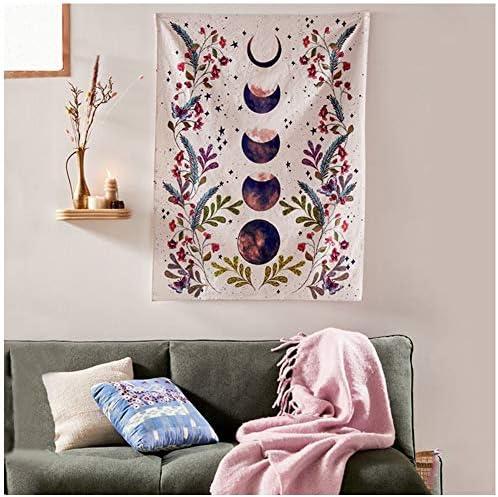 Moonlit Garden Tapestry Flower Vine Tapestry purple Moon Phase Surrounded by grape vine purple Tapestry purple flowers Wall Decor Tapestry 70.8 x 90.5 , Moonlit