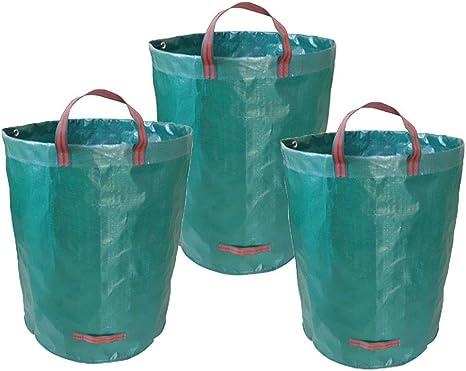 DLYESA Sacos de Jardin, Paquete de 3 Bolsas de Basura de jardín de 300L, Reutilizables, Plegables (H84 cm, D67 cm),80GAL/300L: Amazon.es: Deportes y aire libre
