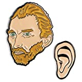 The Unemployed Philosophers Guild Van Gogh and Ear Enamel Pin Set - 2 Unique Colored Metal Lapel Pins
