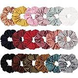 Ondder 18 Colors Satin Hair Scrunchies Elastic Hair Bobbles Hair Ties Ponytail Holder Hair Scrunchy Bands For Women and Girls