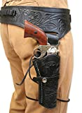 Historical Emporium Men's Right Hand Tooled Leather Western Gun Belt and Holster .44/.45 Cal 34 Black