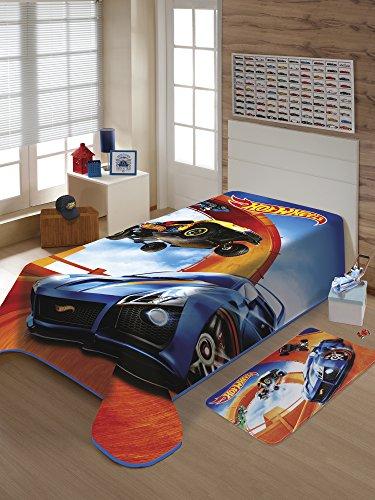Cobertor Raschel Mattel Hot Wheels Pistas JolitexMulticor Poliéster