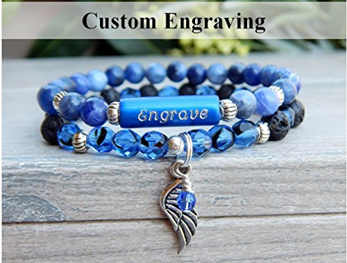 Diffuser Bracelet - Engraved Jewelry - Blue Beaded Gemstone with Angel Wing Charm