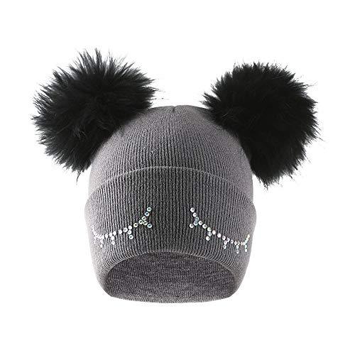 WUAI Boys Girls Winter Wool Knit Hats Beanies Warm-up Skull Cap Ski Cute Eyes Pattern Hairball Baggy Slouchy Hats(Dark Grey,Free Size) ()