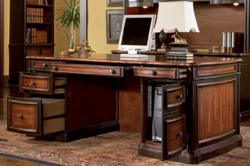 Traditional Home Office Executive Desk Two Tone Warm Brown - Antique Executive Desk Vintage Style Office Furniture