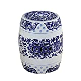 Hawthorne Collections Ceramic Garden Stool in Blue