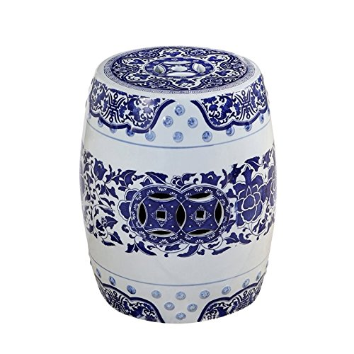 Hawthorne Collections Ceramic Garden Stool in Blue by Hawthorne Collections